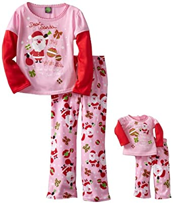 Dollie & Me Girls Santa Clause Pajama Set, Multi, 5