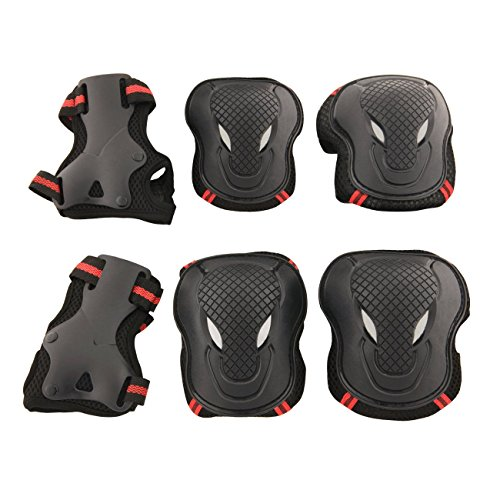 Allnice® Alien 6 in 1 Thicken Skateboard Cycling Roller Skating Outdoor Sport Blading Elbow Knee Wrist Protective Gear Pads Safety Gear Pad Guard for Adult & Child Kid Use - Red+Black Color (M Size)