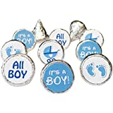 Boy Baby Shower Favors 324 Stickers for Kisses Candies (Blue Baby Boy)