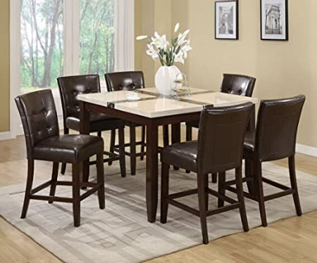 7 pc Justin white and black faux marble top square counter height dining table set