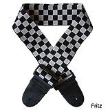 Fritz ギター ベース エレキ ストラップ チェック柄 チェッカー フラッグ 黒白 モノトーン