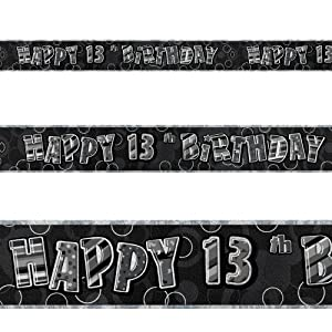 12ft Happy 13th Birthday Black Sparkle Prismatic Party Foil Banner Decoration by Unique