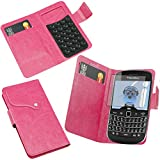 ITALKonline BlackBerry 9900 Bold Touch Pink PU Leather Executive Multi-Function Wallet Case Cover Organiser Flip with Credit / Business Card Money Holder and 3 Layer LCD Screen Protector