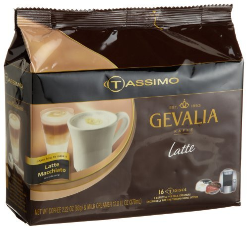 Gevalia Latte (8 Servings), 16-Count T-Discs For Tassimo Coffeemakers (Pack Of 2)