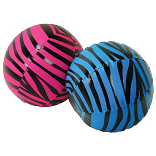 "One Assorted Color (Blue & Pink) Zebra Stripe Theme Beach Ball - 16"" - 1"