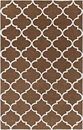 Brown & Ivory Designer Rug Contemporary 5-Foot x 7-Foot 6-Inch Hand-Made Trellis Carpet