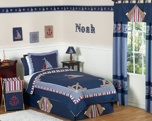 Nautical Nights Boys Sailboat Childrens Bedding 3pc Full / Queen Set