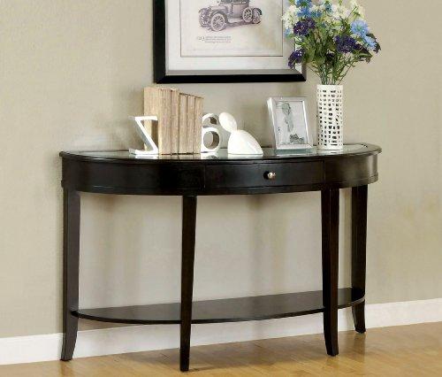 Furniture Of America Galen Sofa Table With Beveled Mirror Glass Top, Dark Walnut Finish
