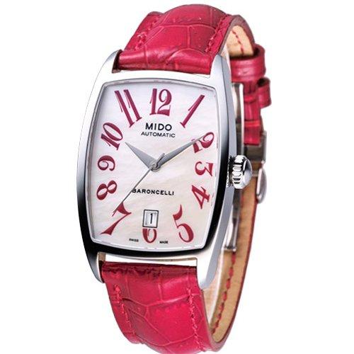 MIDO Baroncelli Tonneau M0033071611200 - Reloj de mujer automático, correa de piel color rojo