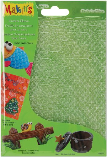 Makin's USA Clay Texture Sheets, 7-Inch by 5-1/2-Inch, Scale/Snowflake/Woodgrain/Stars, 4 Per Package