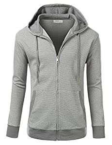 J.TOMSON Mens Contrast Thermal Zip-Up Hoodie