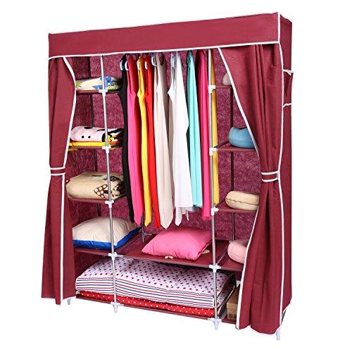 Homdox-Kleiderschrank-Faltschrank-Wscheschrank-Stoffschrank-Campingschrank-Rot