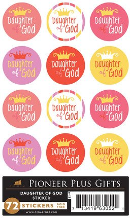 LDS Acid-free Daughter of God 72 Stickers - 12 Stickers Per Page, 6 Pages - Young Women, Youth