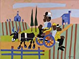 POSTER Going to Church Artist William H Johnson born Florence SC 1901 died Central Islip NY 1970 Graphic Arts Print ca 1940 1941 Topic Architecture eligiouschurch Figure s exterior ural Figure group amily EthnicAfrican American Architecturevehiclecart