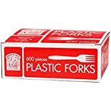 Bakers and Chefs White Plastic Forks, 600 Count