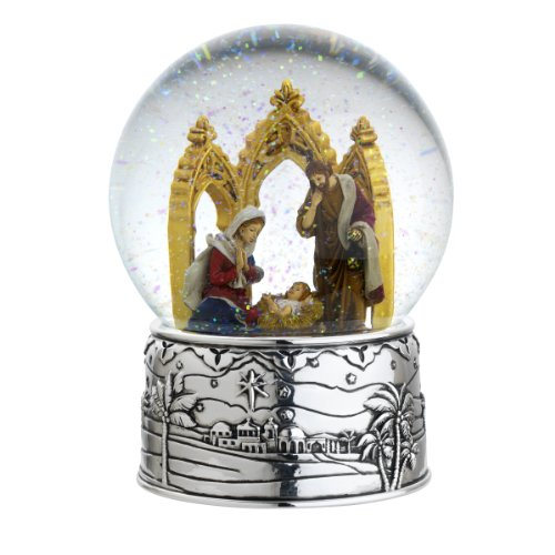 Reed & Barton Cathedral Nativity Snowglobe Seasonal Ornament, Oh Holy Night, 6-1/2-Inch