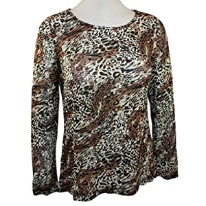 AZI Jeans - Forwear New York Fashion Apparel Scoop Neck, Herringbone Leopard Print, Long Sleeve Woman's Tunic Top
