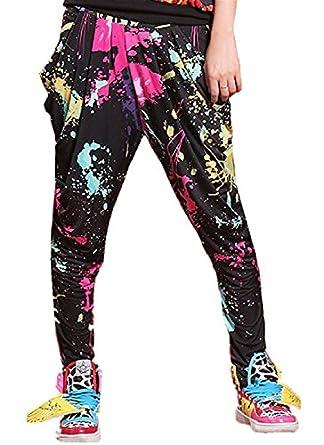 Babyhclub Womens Graffiti Splash-ink Baggy Harem Cropped Trouser