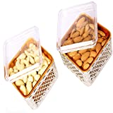 Ghasitaram Gifts - Set Of Two Multipurpose Dryfruit Airtight Containers