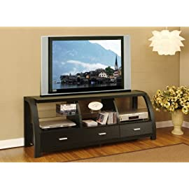 Wood Black 60 inch 3 drawers TV Stand Entertainment Cabinet