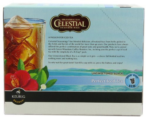 Celestial Seasonings Black Tea Unsweetened Perfect Iced Tea, K-Cup Portion Pack For Keurig K-Cup Brewers, 24-Count