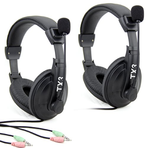 Etekcity® 2 Pack Professional Stereo Headphone Headset Tx3 3.5Mm With Mic Microphone For Computer Pc Laptop Notebook