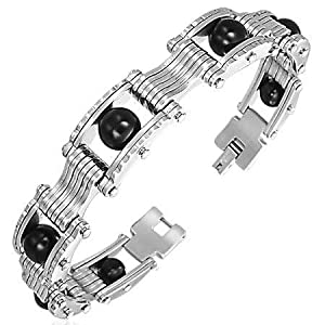 Mens Black And Silver Stainless Steel Bracelet - Large Length 85 - Width 12mm - Supplied In Gift Pouch from Katy Craig
