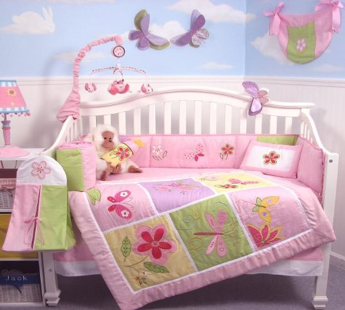 SoHo Butterflies Meadows Baby Crib Nursery Bedding Set 13 pcs included Diaper Bag with Changing Pad & Bottle Case image