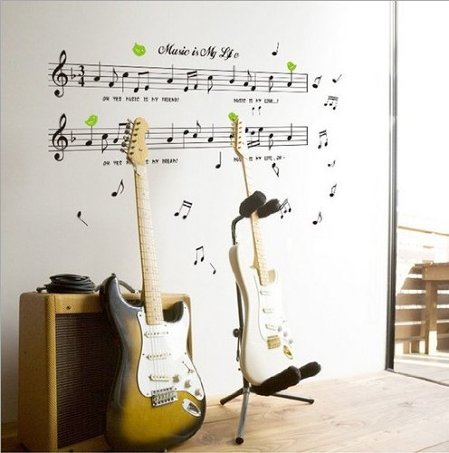 Home Decor Decals Poster House Wall Stickers Quotes Removable Vinyl Large Wall Sticker For Kids Rooms Stickers Mirror Stickers Music Label W-257 front-799824
