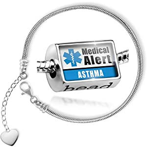 Charm Set Medical Alert Blue Asthma - Bead comes with Bracelet , Neonblond from NEONBLOND