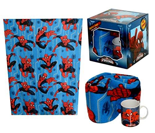 BOX CONFEZIONE REGALO GIFT SPIDERMAN COPERTA PIU TAZZA PER BIMBO BAMBINO GADGET