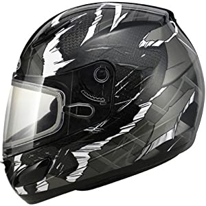 GMAX GM48S Men's Winter Sport Snowmobile Helmet - Dark Silver/Black/White / X-Large