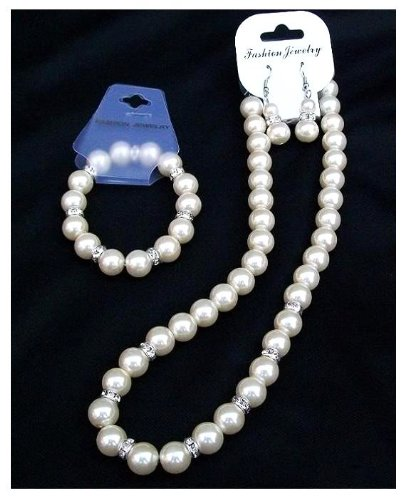 Ivory Cream Pearl Crystal Necklace Bracelet Earrings Bridal Wedding Prom Jewellery Set