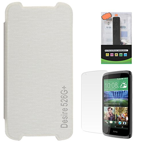 DMG Dual PU Leather Flip Cover Case For HTC Desire 526G+ (White) + 2600 MAh PowerBank + Matte Screen