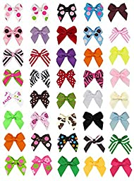 Hip Girl Boutique No Clip Baby Ribbon Hair Bows-Baby Shower Gift! (40pc 1\