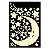 [Neustadt] 暗い所で 光る シール 大きな お月様と お星様の ステッカー 子供部屋 寝室などに