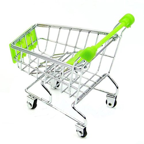 LandFox Toy,Mini Supermarket Handcart Shopping Utility Cart Mode Storage Basket Desk,Green (Mini Shopping Bags compare prices)