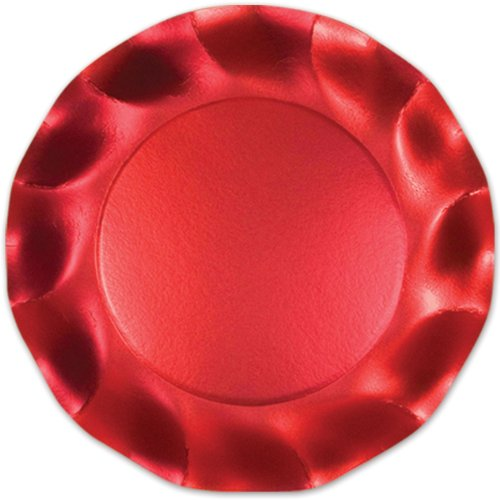 Satin Red Medium Plates Party Accessory (1 count) (10/Pkg) - 1