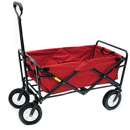Folding Utility Wagon Beach / Garden / Shopping Cargo Cart - Red (Camping Trolley compare prices)