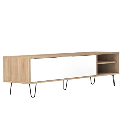 Mueble TV diseño escandinavo Lackberg 1puerta asiento Roble Natural