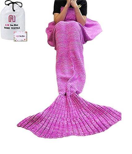"""Lavorato a maglia a mano una coda, utilizzabile come coperta, coperta per divano letto, soggiorno con sirenetta, per adulti e bambini, 180 cm x 90 cm x cm ( 186,66 (73,49"""") 89,92 (35,4"""") cm) Rosa"""