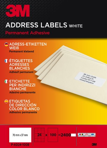 3M PA24100B Etiquettes 70 x 37 mm Blanc