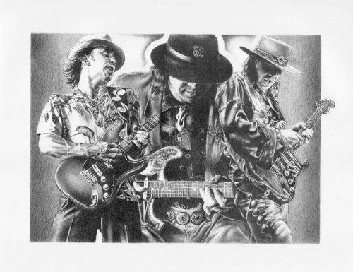22.5X17.5 Sketch Poster Print Stevie Ray Vaughan