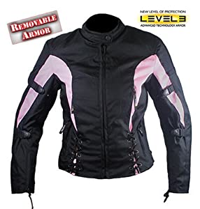 Xelement Vented Womens Black/Pink Tri-Tex Fabric Jacket - Medium