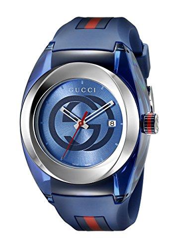 Gucci YA137104 - Reloj unisex, correa de goma color azul