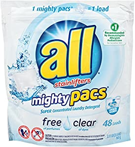 All Mighty Pacs Laundry Detergent, Free & Clear, 48 Pacs