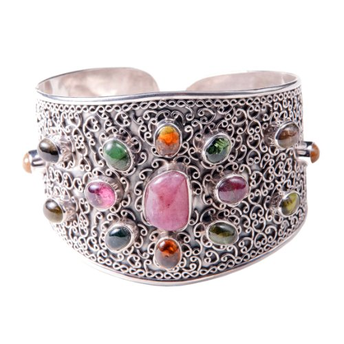 Sterling Silver Cuff Bracelet with pink Tourmaline Surrounded by 14 Oval Shaped multiple color bezel Set Tourmaline.