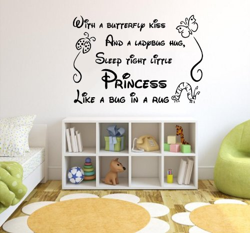 WITH A BUTTERFLY KISS AND A LADYBUG HUG, SLEEP TIGHT LITTLE PRINCESS LIKE A BUG IN A RUG Vinyl wall quotes stickers sayings home art