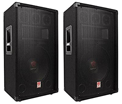 """(2) Rockville RSG12.4 Single 12"""" Three-Way, 4-Ohm Pro Audio Passive Loudspeakers Totaling 2000 Watt Peak/1000 Watt RMS with Three 3"""" Piezo Bullet Tweeters, a 2"""" High Temperature Voice Coil, and a Piezo Compression Horn"""