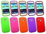 Emartbuy ® Samsung Galaxy S3 Mini I8190 Bundle Pack Von 5 Silicon Skin Cover / Case Lila, Grün, Rot, Orange & Pink